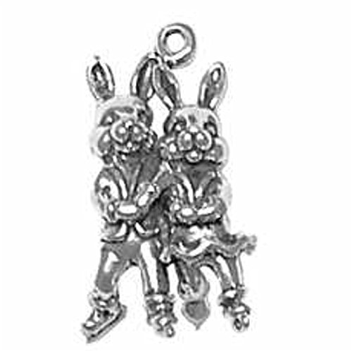 Sterling Silver 30'' Boys 1.2mm 3D Bunny Rabbit Couple Ice Skating Crossed Arms Pendant Necklace by Auntie's Treasures