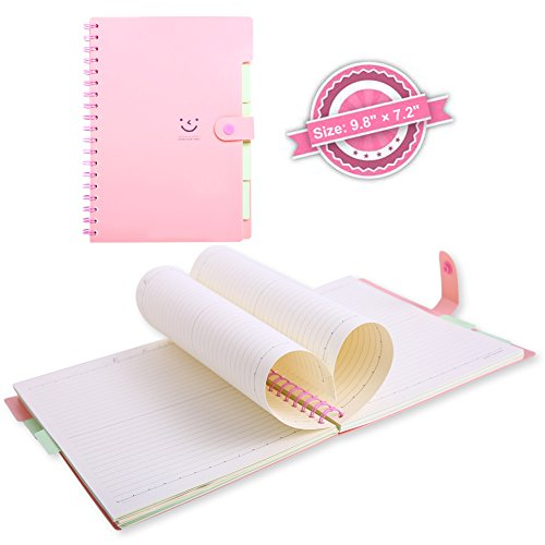 B5 Spiral Notebook, 5 Subject Notebooks, Cute Diary, Wide Ruled Large Writing Paper, Colored Hardcover Divider, 100 Sheets Wire Bound Notepad 9.8×7.2 Smile Journal Memo Planner for Kids Girls Women