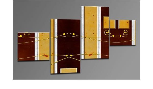 Arte moderno lienzo como 4 imágenes Art-Nr. M42104 NATURE STYLE Modern ART enmarcado sobre Lienzo auténtico. Diseño instalado. Buena como al óleo Póster cartel con marco enorme! Más MADE IN GERMANY: Amazon.es: