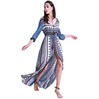 Hot Sale ! Beautiful Fashion Women Print Floral Retro Bohemian Dress, Ninasill Exclusive Palace V-Neck Evening Party Dress (S, Blue)