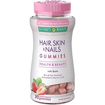 Amazon.com: Nature\'s Bounty Hair, Skin and Nails Gummies, Strawberry ...