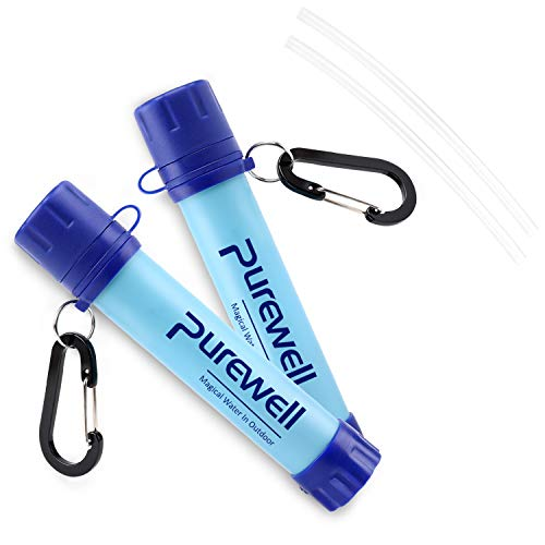 Purewell Outdoor Water Filter Personal Water Filtration Straw Emergency Survival Water Purifier for Camping Hiking Climbing Backpacking(2 Pack)