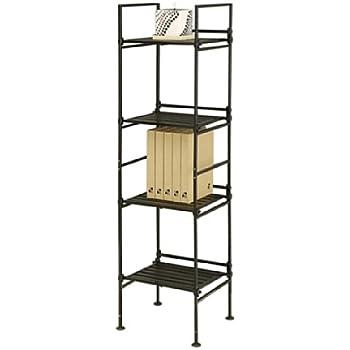 amazon com neu home espresso 4 tier square free standing storage rh amazon com 4 tier shelving plastic bins 4 tier shelving unit covers