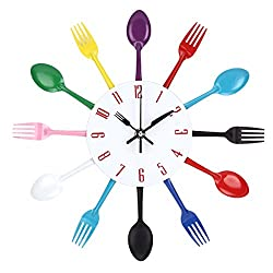 Uniquebella Kitchen Wall Clock Fork & Spoon Kitchen Decoration Kitchen Home 33 x 33 cm (Multi-color)
