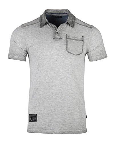 ZIMEGO Mens Short Sleeve Oil Wash Vintage Button Henley Pocket Polo T-Shirt Silver Grey