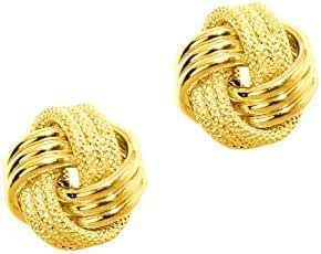 14k Solid Yellow Gold Loveknot Love Knot Stud Earrings 10 Mm
