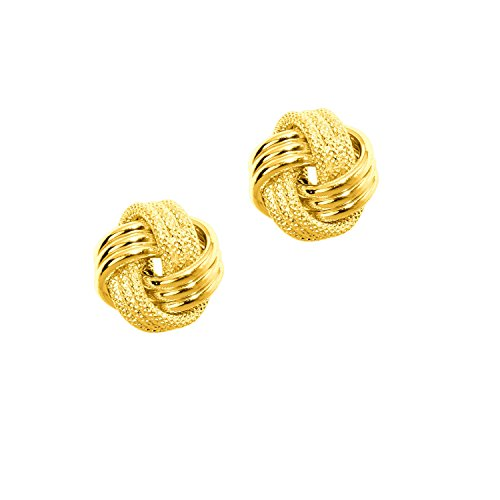 14k Solid Yellow Gold Loveknot Love Knot Stud Earrings 10 Mm (Yellow Gold 14k Earrings Knot)