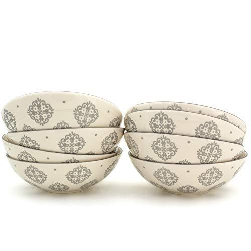Euro Ceramica ALF-1233G Alfama Dining/Pasta Bowls, Set of 8, Grey by Euro Ceramica Inc.