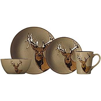 Pfaltzgraff Wildlife 16-Piece Dinnerware Set Service For 4  sc 1 st  Amazon.com & Amazon.com | Certified International Winter Lodge 16-piece ...