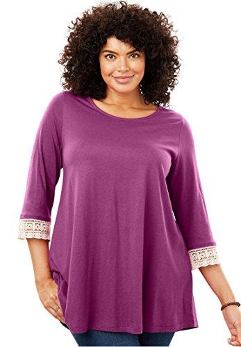 Woman Within Plus Size Crochet Sleeve Tunic