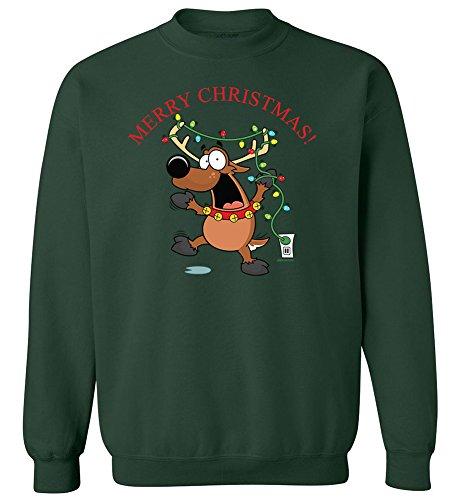 Joe's USA Christmas Reindeer Crewneck Sweatshirt-4XL-ForestGreen/c -