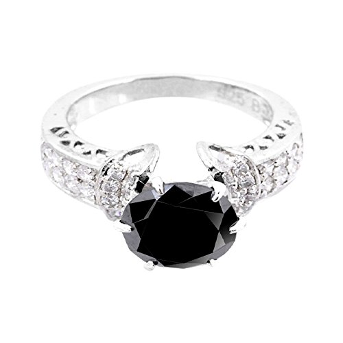 3ct Certified AAA Quality Black Diamond Solitaire Engagement Ring, Wedding Ring With VVS! White Diamonds by skyjewels