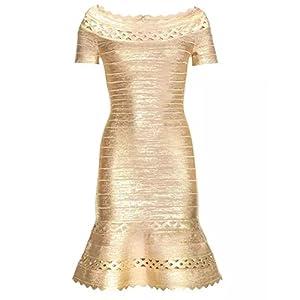 whoinshop Women's Off Shoulder Metallic Foil Bodycon Party Dress with Ruffle Hem