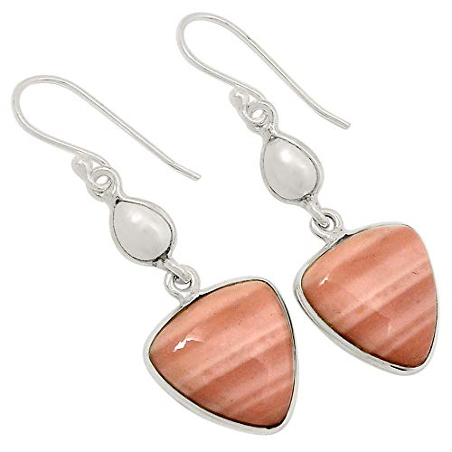 - Xtremegems Brecciated Pink Opal & Cultured Pearl 925 Sterling Silver Earrings Jewelry 1 5/8