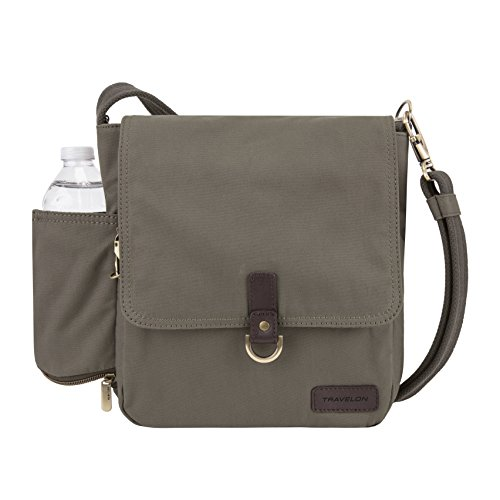 - Travelon Crossbody Anti-Theft Courier Tour Bag, Stone Gray, One Size