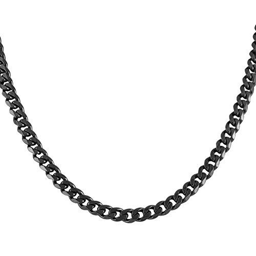 HZMAN Classic Mens Necklace 316L Stainless Steel Cuban Curb Chain Silver Gold Black 3 Color, 8mm Length18
