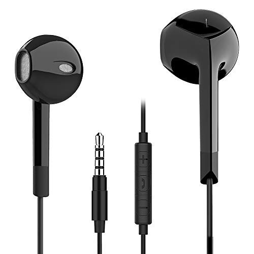 Earphones,in Ear Earbuds with Mic,Stereo Bass Headphones E6,Noise Isolating Headset Made Compatible with3.5mm Jack(Black)
