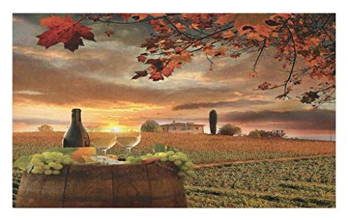 Lunarable Winery Doormat, White Wine with Cask on Vineyard at Sunset in Chianti Tuscany Italy, Decorative Polyester Floor Mat with Non-Skid Backing, 30 W X 18 L Inches, Apple Green