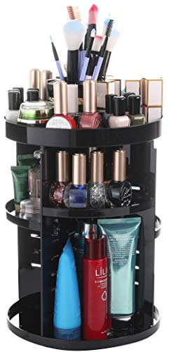 Sooyee 360 Rotation Makeup Organizer,DIY Adjustable Make up Carousel Spinning Holder Ondisplay Rack,Large Capacity Round Bathroom Storage Tower Cosmetics Caddy Shelf Box, Best for Countertop, Black -