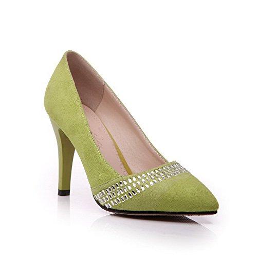 Smerigliati Indicata Punta Talloni Chiuso Tirano Pompe scarpe Donne Weipoot Verdi Solidi Delle qEYwg0