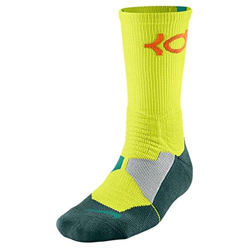 Nike KD Hyper Elite Basketball Crew Socks (Dri-FIT) (XL, VOLT/EMRGRN/(TOTAL ORANGE))