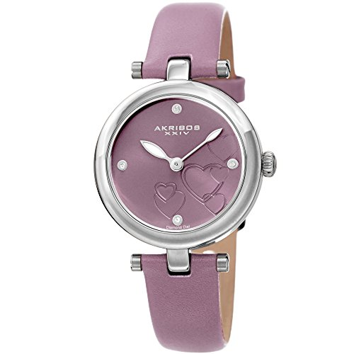 Akribos XXIV Women's Diamond Accented Heart Engraved Dial Lavendar Leather Strap Watch - Packed in a Beautiful Gift Box, Perfect for Mothers Day- AK1044LV (Heart Dial Watch)