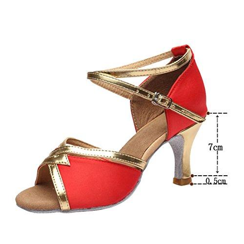 Mujer De Zapatos Baile Latino Libre Wxmddn Piscina Suave Four 7cm Suelas Seasons Al Rojo Oro Aire ExSdw55tq