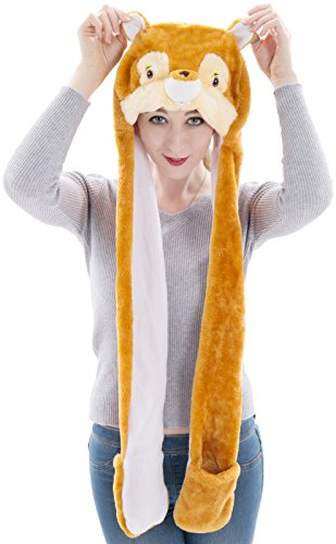 Winter Animal Hat Set Cap for 3-17yr Kids Cosplay Party Vibrant Costume Toy (Squirrel Scrat)- Children Christmas Gift Cozy Outdoor Ski Sports Headwear/Headwraps with Paws/Mittens(Squirrel (Kids Man In The Yellow Hat Costume)