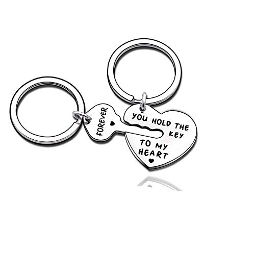 Couples Jewelry Accessories Silver Key Chains Rings Keychain Valentines Gifts for Husband Wife Boyfriend Girlfriend ()