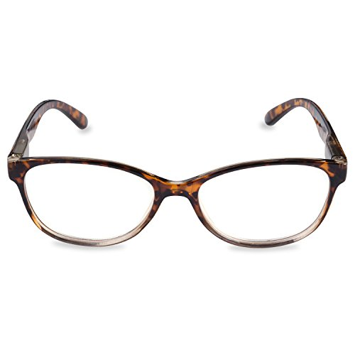 Inner Vision Women's Reading Glasses w/ Spring Hinges & Case - (1.5 x Magnification) - Brown - Tortoise Shell Brown Glasses