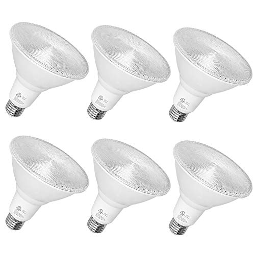 Hykolity Outdoor Led Flood Light, Waterproof PAR38 LED Bulb, Dimmable, 15W=120W, 5000K Daylight, 1600lm, E26 Base, UL Listed (6 Pack)