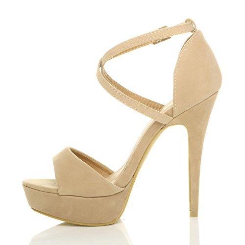 Sandals Heel Size High Over Women Cross Ajvani Suede Nude 7THxzw