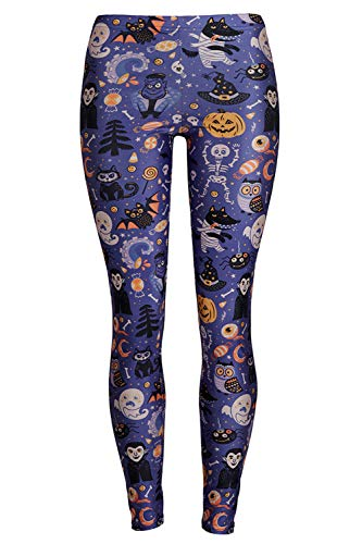 GLUDEAR Women's Halloween Print High Waist Leggings Stretch Full Length Tights Workout Pants,Pumpkin Bat,L/XL ()