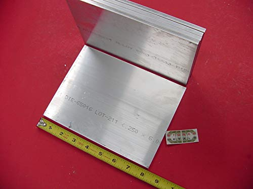 5 Pieces 1/4'' X 6'' Aluminum 6061 Flat BAR 8'' Long T6511 .25'' Plate Mill Stock