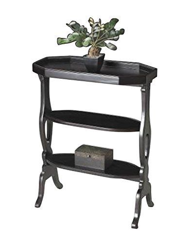 Home Decorative Hand Painted Solidwood Accent Table with Plum Black Finish
