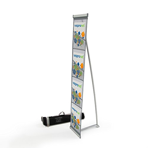 - Mesh Magazine Stand - Roll Out Brochure Holder 4 Pockets - Portable Literature Display