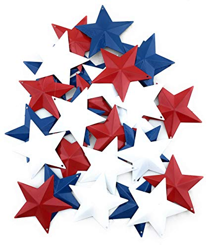 AMELI Rustic Metal Stars (2.25 Inches)(Red,White and Blue) for Rustic Decor, Pallet Signs, Rustic Christmas Decorations and Holiday Craft-Pack of Thirty