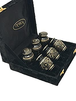 NWA Cremation Urn, Keepsake Urns, Brass Funeral Tokens, Set of Six with Case