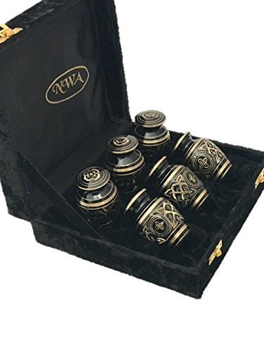 - NWA Cremation Urn, Keepsake Urns, Brass Funeral Tokens, Set of Six with Case
