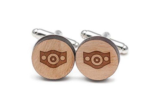 Wooden Accessories Company Championship Belt Cufflinks, Wood Cufflinks Hand Made in The USA