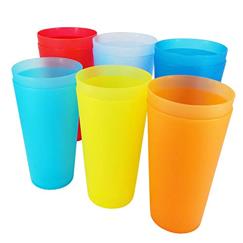Unbreakable 32-ounce Plastic Tumblers BPA Free Dishwasher Safe Set of 12 in 6 Assorted Colors Drinking Glasses ()