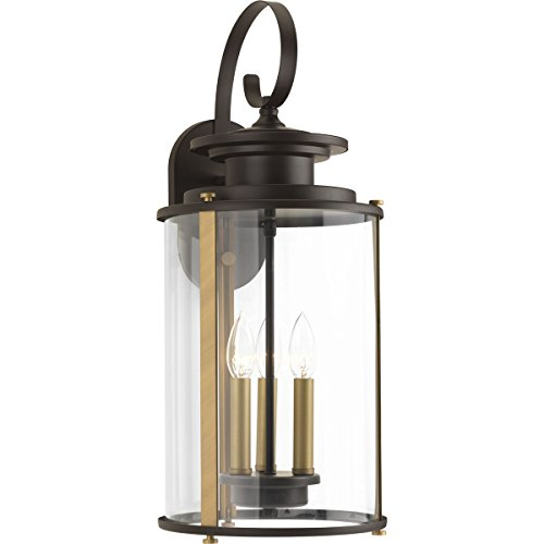(Progress Lighting P560038-020 Squire Antique Bronze Three-Light Large Wall Lantern,)