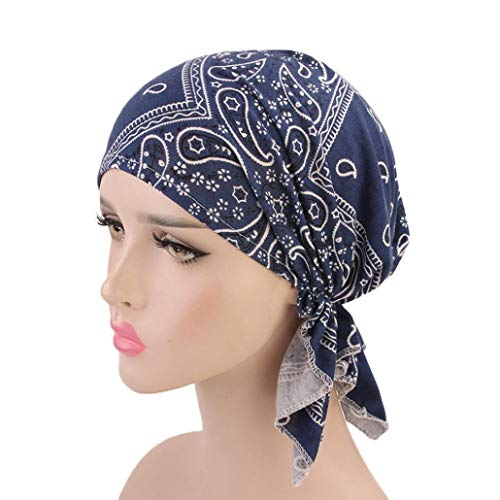 Denim Cap Headgear (Suma-ma 11Colors Women Retro Country-Ethnic Style Print Indian Hat -Elegant Stretch Scarf Headgear)