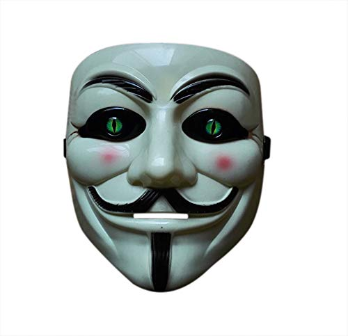 Nuoka Halloween Anonymous Costume Cosplay Guy Fawkes V for Vendetta Mask (White 1) ()