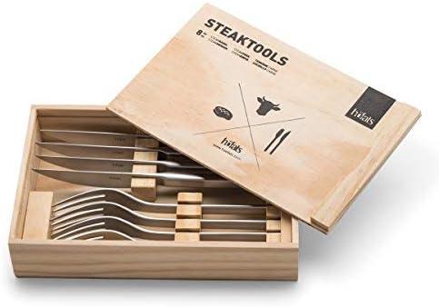 höfats - Juego de cubiertos de carne 8 piezas con cuchillo, tenedor y caja de madera - Juego de cubiertos para 4 personas - acero inoxidable: Amazon.es: Jardín