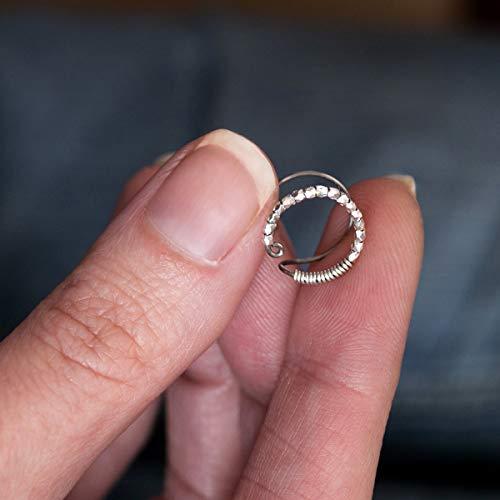 1b05519a986 Bague d oreille helix en titane - Anneaux de cartilage pour oreille non  percée - Faux piercing - Perles d argent à facettes - Hypoallergénique   Amazon.fr  ...