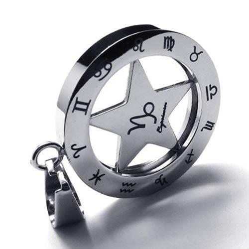 "28"" KONOV Jewelry Stainless Steel Spinner Zodiac Mens Womens Necklace Capricorn Pendant 28"" Chain"
