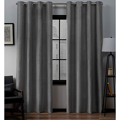 Exclusive Home Curtains Loha Linen Window Curtain Panel Pair with Grommet Top, 54x84, Black Pearl, 2 Piece