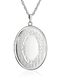 """Sterling Silver Extra-Large Engraved Oval Locket Necklace, 22"""""""