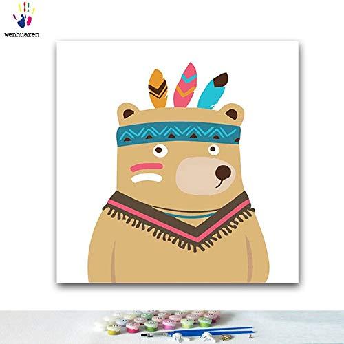 KYKDY DIY Färbungen Bilder malen nach Zahlen mit Farben Ethnische Tierillustration Bildzeichnung Malen nach Zahlen mit gerahmtem, 90500,40x40 kein Rahmen B07PS4RFGR | Ausgezeichnetes Preis